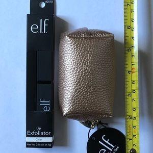 NEW ELF Lip Exfoliator and Gold mini Zipper Pouch